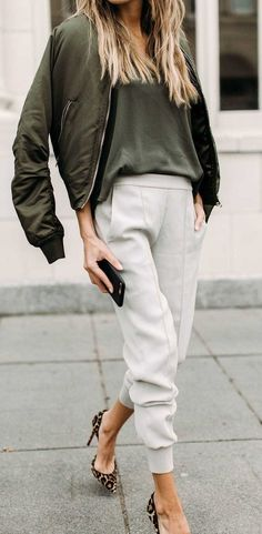 #winter #outfits green zip-up jacket and gray pants
