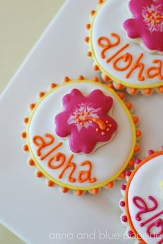 Luau party cookies.