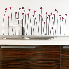 Floral and Grass Wall Decals, Graphics and Wall Stickers Maybe in white off light gray walls