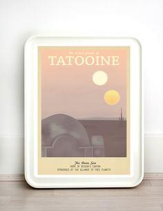 Retro Travel Poster - Star Wars - Tatooine - MANY SIZES - Modern Vintage Sci Fi Geek Yoda R2D2 C3po Obi Wan Jedi Typography Art Print by TeacupPiranha