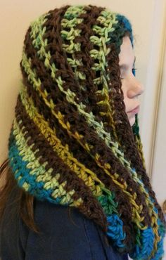 Crochet Pattern Chunky Hooded Tie Cowl Poncho by APieceOfCrochet, $3.50