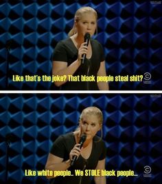 Like that's the joke?. That Black people steal shit? Like white people...we STOLE black people... -Amy