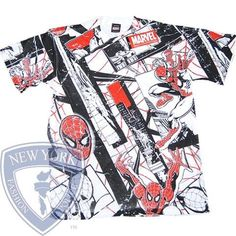 T-SHIRT SPIDERMAN TEE RED SILK PETER PARKER MARVEL COMICS L