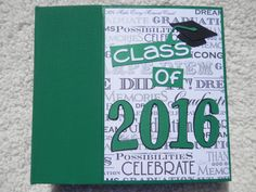 Congrats Class of 2016! This is a 6x6 inch chipboard scrapbook that would make a great graduation gift or fun way to display your own graduation