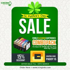 Get 15% discount offer from Icinginks to purchase #Canon #EdibleCleaningCartridges #online till March 19, 2018, to celebrate St. Patrick's Day happily. USE Coupon Code: PADDY 15