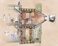 The hotel project - amelyn ng sketches drawings, perspective Architecture Tools, Architecture Graphics, Architecture Drawings, Croquis Drawing, Drawing Sketches, Conceptual Sketches, Renzo Piano, Sectional Perspective, Photomontage