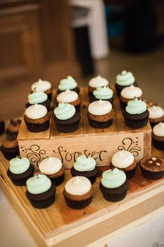 Rustic chocolate cupcakes: Wedding Venue: Dominion House - http://www.stylemepretty.com/portfolio/dominion-house Photography: Sheradee Hurst Photography - www.sheradeehurstphotography.com   Read More on SMP: http://www.stylemepretty.com/2017/03/29/a-proposal-story-this-sweet-the-wedding-would-be-even-sweeter/