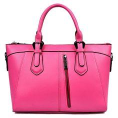 Retro Candy Color and Zipper Design Women's Tote Bag Handbag Wholesale, Pink Purses, Retro Candy, Pendant Design, Cheap Shoes, Candy Colors, Wholesale Fashion, Womens Tote Bags, Fashion Handbags