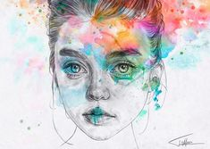"""Fantastic work by independent illustrator Tomasz Mro. """"I specialize in portraiture and have an interest in graphic design and fashion. Pen And Watercolor, Watercolor Portraits, Watercolor Paintings, Art And Illustration, Watercolour Illustration, Portrait Illustration, Inspiration Art, Art Inspo, Grid Design"""