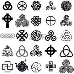 Jeu de symboles celtique icônes vectorielles. Jeu de conception de tatouage. Banque d'images