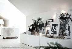 pure white contemporary Christmas decoration with touches of black and natural spruce - (Besta storage from Ikea) The Paper Mulberry: || CHRISTMAS | NORDIC - PURE