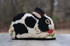 Small Vintage Rabbit Needlepoint Pillow / Needlepoint Rabbit Pillow / Cottage Decor by theretrobeehive on Etsy https://www.etsy.com/listing/218657598/small-vintage-rabbit-needlepoint-pillow