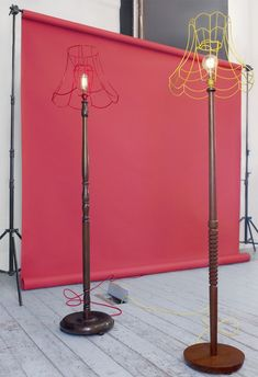 Strip the shade of its fabric to reveal its skeleton, then paint. Donna Walker - Skeleton Floor Lamps