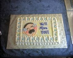 We'll miss you :( - Last of three sheet cakes for our goodbye party for our youth pastor. Going Away Cakes, Sheet Cakes Decorated, Goodbye Party, Retirement Cakes, Cake Decorating, Decorating Ideas, Miss You, Icing Recipes, Wellness