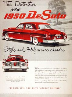 1950 DeSoto Sedan original vintage advertisement. Style and performance leader. DeSoto lets you drive without shifting.