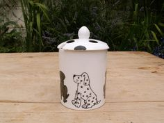 Dogs Preserve jar Honey Pot Hand Painted Fine Bone China IN STOCK READY TO SHIP £20.00