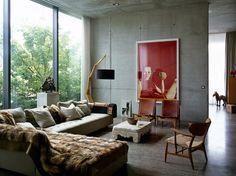 living com paredes de concreto