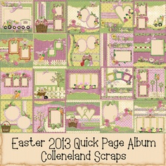 New!  2013 Easter Scrap Kit Quick Page Album.  20 matching Quick Pages all ready for your Easter Pictures of the family.  In matching pinks, greens, purples and yellows, this kit is sure to be a hit.   Price $14.99