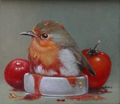 """Ketchup""  by Gabriel Gressie 5 x 6 cm oil on panel #art, paintings"