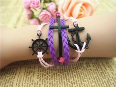 Retro romantic bracelet password anchor cross the rudder bracelet purple wax rope bracelet | Tophandmade - Jewelry on Ar