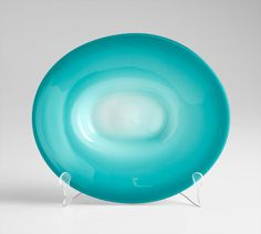 Large Blue Glass Plate by Cyan Design