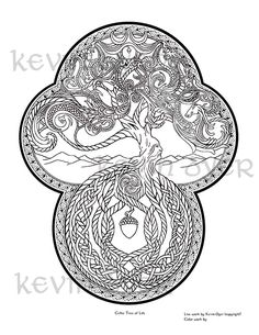 Celtic Tree Of Life Fantasy Coloring Pages