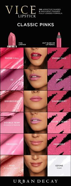 Best Ideas For Makeup Tutorials Picture Description Who said pink is only for Wednesday? We've got a different shade for every day of the week! Get your Vice Lipstick now at Urban Decay. Lipstick Swatches, Makeup Swatches, Lipstick Colors, Lip Colors, Lipstick Shades, Urban Decay Makeup, Urban Decay Vice Lipstick, All Things Beauty, Beauty Make Up