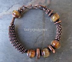 Copper Wire Jewelry | Copper Bangle with Coiled Wire Focal