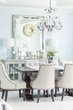 Elegant Dining Room with Sherwin Williams Blue Paint and Restoration Hardware Furniture Table Design, Dining Room Design, Restoration Hardware Furniture, Dining Chairs, Dining Table, Wood Table, Atlanta Homes, Visit Atlanta, Elegant Dining Room