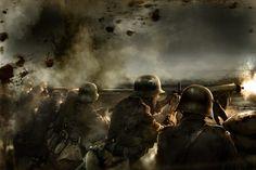 Tropas alemanas defendiendo una trinchera, por Mariusz Kozik. Más en www.elgrancapitan.org/foro