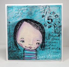 Dina Kowal made a beautiful card using an Inchie Arts Art Square and stencils from StenfcilGirl Products