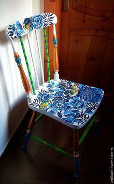 Купить Антикварный расписной стул. - синий, авторская ручная работа, стул…