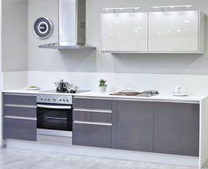 Cocina moderna. Textil blanco y gris