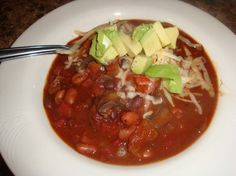 Spicy meatless chili perfect for healthy eating plans!