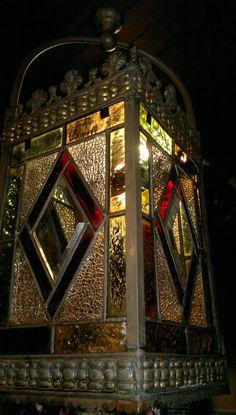 Antique Victorian Stained Glass Hall Lantern Old Gilt Brass c1900  #Victorian #HallLantern