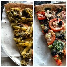 #Pizza #Lunch #Pesto #Chicken #Pasta w/ #SunDriedTomatoes  #Veggie #Slice #Combo #FoodOfTheGods #Downtown #SanDiego #picstitch #EaterySD