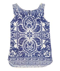Look at this Blue & White Geometric Scoop Neck Tank on #zulily today!