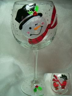 snowman wine glass | Cheery Snowman Hand Painted Glass - WineTyme Designs Decorated Wine Glasses, Hand Painted Wine Glasses, Painted Wine Bottles, Wine Glass Crafts, Wine Craft, Wine Bottle Crafts, Christmas Wine Glasses, Christmas Wine Bottles, Wine Glass Designs