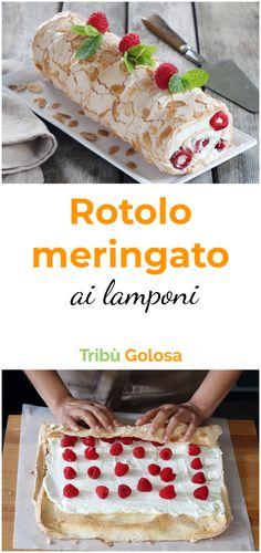 Rotolo meringato ai lamponi - My list of the best food recipes Easy Cake Recipes, Sweet Recipes, Baking Recipes, New Dessert Recipe, Dessert Recipes, Desserts, Raspberry Meringue, Good Food, Yummy Food