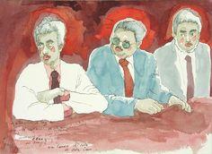 """Bernardo CRESPIN : """"Las Estampitas de Luz Bell"""" ; 1982 ; tinta y acuarela sobre papel ; 27.3cm x 37.5cm ; colección MDAA (adquirido de la galería Humberto Saravia)"""