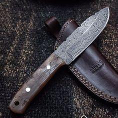 ALONZO KNIVES USA CUSTOM HANDMADE DAMASCUS TACTICAL HUNTING KNIFE RAM HORN 99 #AlonzoKnives