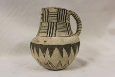 Anasazi Pottery :Very Nice Anasazi Black on White Snowflake Pitcher, Ex Bonhams & Butterfields, New York #269