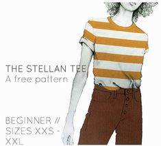 The Stellan Tee - patron t-shirt gratuit frenchnavy - T Shirt Sewing Pattern, Vintage Sewing Patterns, Clothing Patterns, T Shirt Patterns, Pants Pattern, Dress Patterns, Embroidery Patterns, Sewing Clothes, Diy Clothes