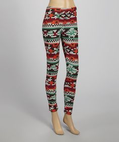 Look what I found on #zulily! Red & Blue Ikat Leggings #zulilyfinds