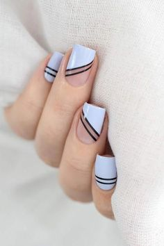 Classy Nails, Stylish Nails, Simple Nails, Trendy Nails, Best Acrylic Nails, Acrylic Nail Designs, Stripe Nail Designs, Sally Hansen, Tape Nail Art