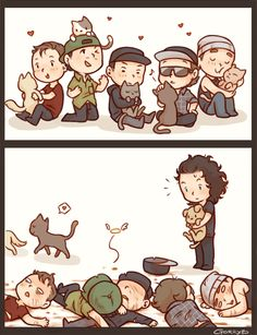 Hollywood Undead ❤️chibis Almost all the members are hogging a cat but Matt is hogging a adorable puppy