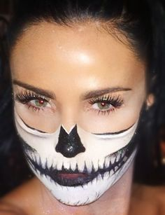 Half Skull Make-up Last week I had fun creating this half skull makeup look on Katie Price for her Halloween party. Kate wanted me to create a half skull look on her showing either one side of her...