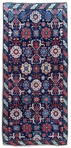 A Russian Karabagh runner BB0130 - Late 19th century South Caucasus antique Karabagh runner, the indigo field with large palmettes and geometric motif ...