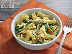 Bacon and Spinach Pasta with Parmesan - Budget Bytes:  I doubled the spinach and Parm cheese, but still needed a little something, maybe some red pepper...