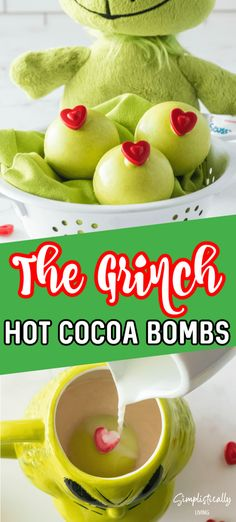 These Grinch Hot Cocoa Bombs Will Have Your Heart Growing Three Sizes #grinch #grinchrecipes #grinchhotcocoabombs Hot Chocolate Gifts, Christmas Hot Chocolate, Chocolate Bomb, Hot Chocolate Bars, Hot Chocolate Recipes, Hot Cocoa Recipe, Christmas Snacks, Christmas Cooking, Holiday Treats